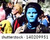 BERLIN - MAY 19: Unidentified girl dressed as an Avatar movie character performs at the annual Berlin Carnival of Cultures on May 19, 2013 in Berlin. - stock photo