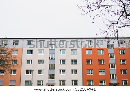 BERLIN - NOVEMBER 23 2015: Part of a modern apartment building in Berlin. - stock photo