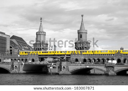 berlin oberbaum bridge and spree - stock photo