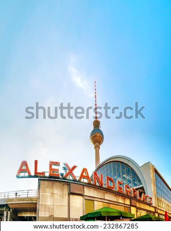 BERLIN - OCTOBER 3, 2014: Alexanderplatz subway station on October 3, 2014 in Berlin, Germany. It's a large public square and transport hub in the central Mitte district of Berlin near the Fernsehturm