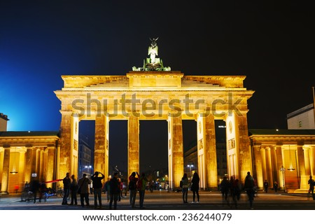 BERLIN - OCTOBER 2: Brandenburg gate (Brandenburger Tor) on October 2, 2014 in Berlin, Germany. It's an 18th-century neoclassical triumphal arch in Berlin, one of the best-known landmarks of Germany.
