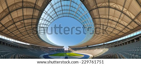 BERLIN - OCTOBER 5, 2014: Olimpic stadium interior on October 5, 2014 in Berlin, Germany. It's the second biggest stadium in Germany behind Signal Iduna Park. - stock photo