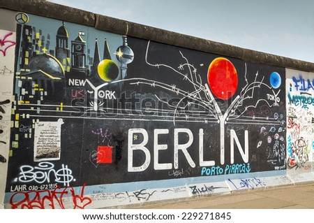 BERLIN - OCTOBER 3, 2014: The Berlin wall with grafitti on October 3, 2014 in Berlin, Germany. It was a barrier that existed from 1961 through 1989 to completely cut off West Berlin from East Germany. - stock photo