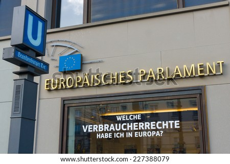 BERLIN - OCTOBER 31, 2014: The European Parliament is the directly elected parliamentary institution of the European Union (EU)