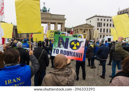 BERLIN - OCTOBER 30, 2015: The protest of the Iranian opposition in the center of Berlin, near the Brandenburg Gate. - stock photo