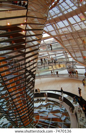 Berlin Reichstag, inside the glass dome 04 - stock photo
