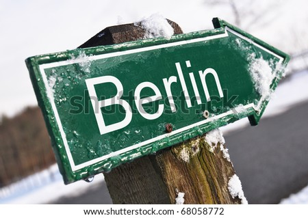 Berlin road sign - stock photo