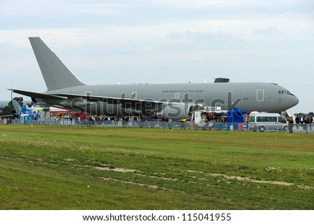 "BERLIN - SEPTEMBER 14: A military transport aircraft Boeing KC 767A (Italian Air Force), International Aerospace Exhibition ""ILA Berlin Air Show"", September 14, 2012 in Berlin, Germany"
