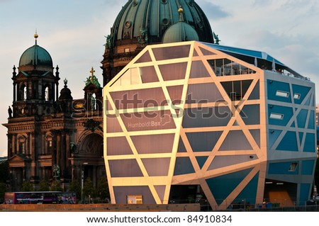 BERLIN - SEPTEMBER 17: Exhibition building Humboldt-Box on September 17, 2011 in Berlin. Humboldt-Box is a temporary exhibition and event building at Museum Island in Central Berlin.