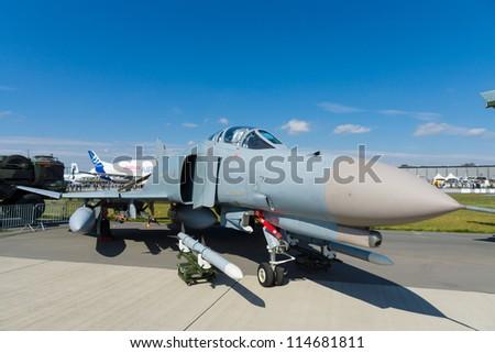 BERLIN- SEPTEMBER 14: McDonnell Douglas F-4 Phantom II is a long-range supersonic jet interceptor fighter, International Aerospace Exhibition ILA Berlin Air Show, September 14, 2012 in Berlin, Germany - stock photo