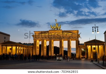 BERLIN-SEPTEMBER 6: Night View of Brandenburger Tor or Brandenburg Gate at night It is a symbol of the tumultuous history but too of the European unity and peace. September 6 2016 in Berlin, Germany