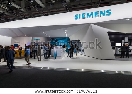 BERLIN - SEPTEMBER 04, 2015: Stand by Siemens. International radio exhibition Berlin (IFA2015). - stock photo