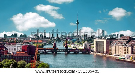 berlin skyline aerial view with river spree and oberbaumbruecke -  oberbaum bridge - stock photo