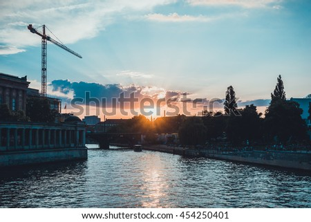 berlin skyline at afternoon with bode museum and spree river - stock photo
