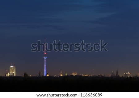 Berlin skyline at night - stock photo
