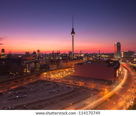 Berlin Skyline City Panorama with blue sky - famous landmark in Berlin, Germany, Europe - stock photo