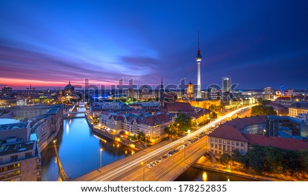 Berlin Skyline City Panorama with blue sky sunset and traffic - famous landmark in Berlin, Germany, Europe - stock photo