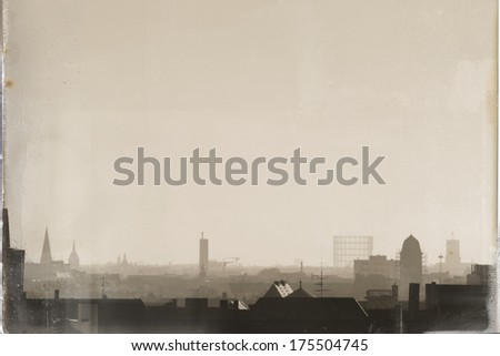 Berlin Skyline retro-styles - stock photo