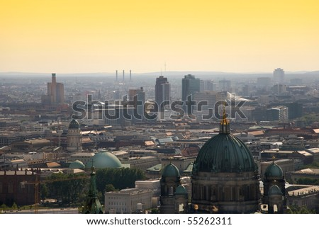berlin skyline with potsdamer platz and berliner dom at dawn - stock photo
