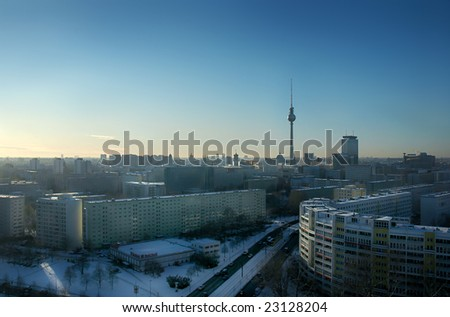 Berlin skyline with tv tower - stock photo