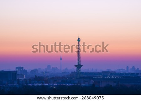 Berlin Sykline and colorful sky in the morning before sunrise - stock photo