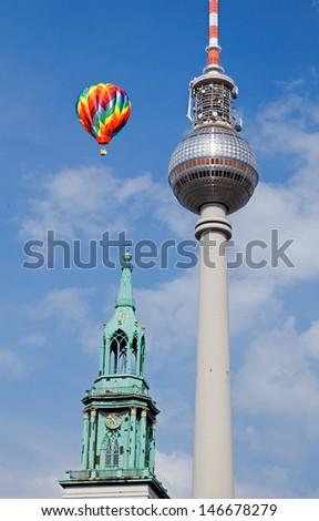 Berlin tv tower -  fernsehturm in Berlin Germany - stock photo