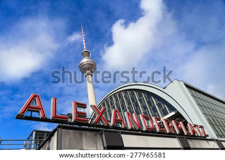 Berlin TV Tower on Alexanderplatz (Germany) - stock photo