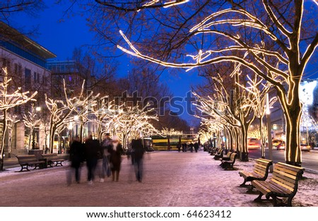 berlin unter den liinden with christmas lighting - stock photo