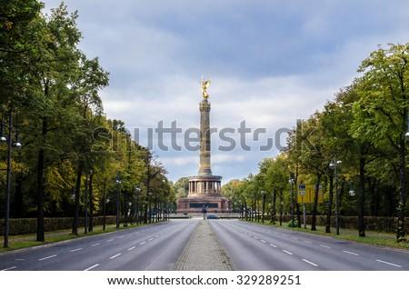 Berlin Victory Column, golden statue - stock photo