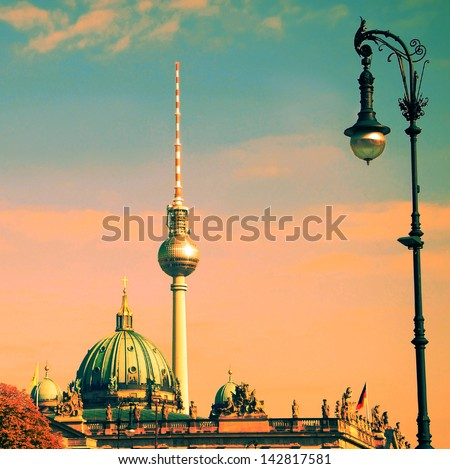 berlin with tv tower and german dome - stock photo