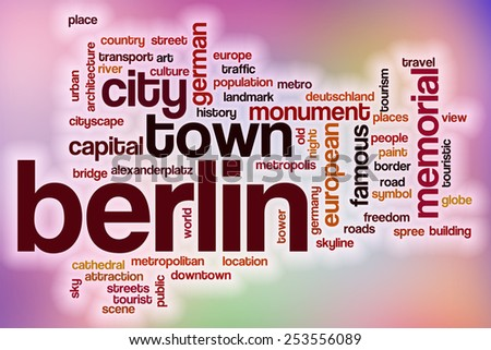 Berlin word cloud concept with abstract background - stock photo