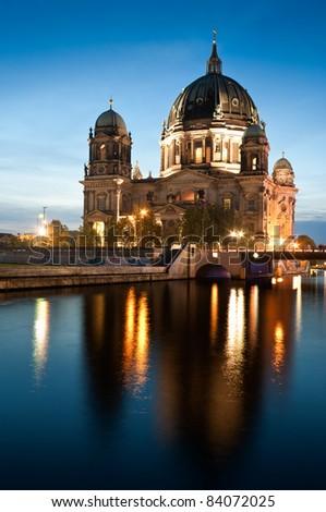 Berliner Dom at night - stock photo