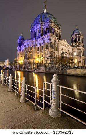 Berliner Dom at night, Berlin, Germany - stock photo