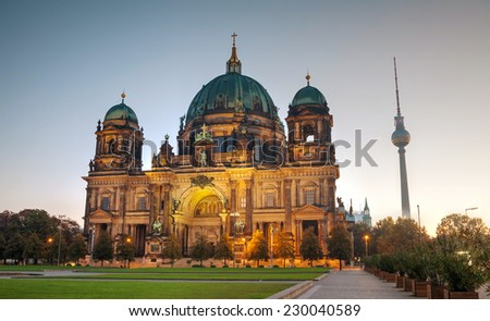 Berliner Dom overview early in the morning - stock photo