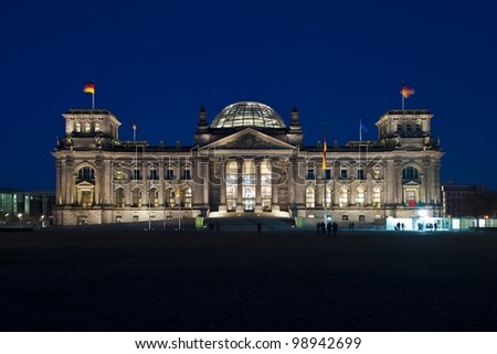 Berliner Reichstag front-view after sunset - stock photo