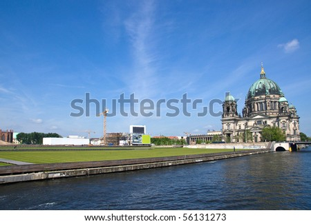 Berlins Dom, the river Spree and the Schlossplatz - stock photo