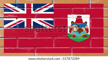 Bermuda flag painted on old brick wall texture background - stock photo
