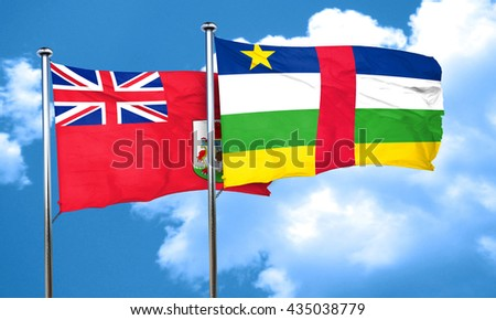 bermuda flag with Central African Republic flag, 3D rendering