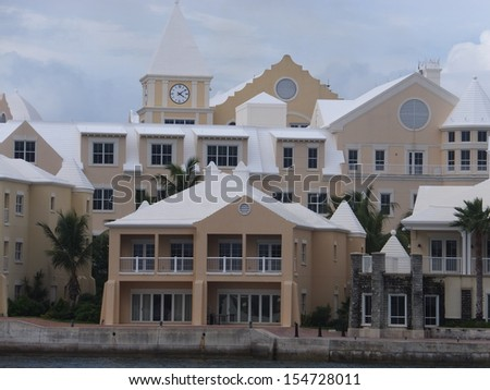 Bermudian architecture along the Hamilton waterfront