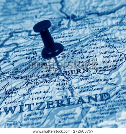 Bern  destination in the map - stock photo