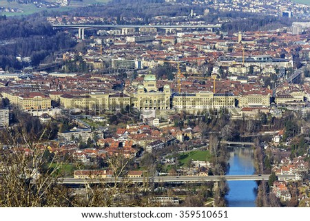 BERN, SWITZERLAND - DECEMBER 25, 2015: Aerial view of city of Bern. The Capital City of Switzerland it is the 4th most populous city in the country - stock photo