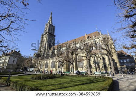 BERN, SWITZERLAND - DECEMBER 26, 2015: The Bern cathedral (Berner Munster) in the old city built in the Gothic style, it is the tallest cathedral in Switzerland with a height of 100.6 m