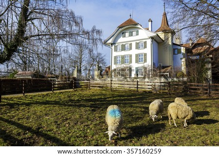 BERN, SWITZERLAND - DECEMBER 23, 2015: Wittigkofen Palace, its history began hundreds of years ago, placed at Murifeld, was originally built as a residence for a farm  - stock photo