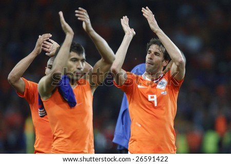 BERN, SWITZERLAND - JUNE 13:  Ruud van Nistelrooy of the Netherlands (9) acknowledges supporters after a 4-1 victory over France in a UEFA Euro 2008 Group C match June 13, 2008 in Bern, Switzerland.