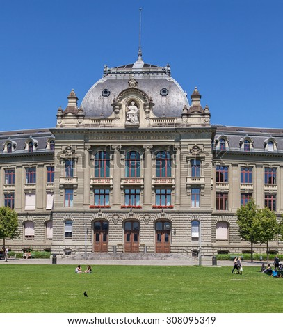 Bern, Switzerland - 11 June, 2014: the University of Bern building. The University of Bern is a university in the Swiss capital of Bern, founded in 1834, regulated and financed by the Canton of Bern.
