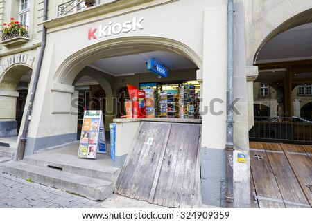 BERN, SWITZERLAND - SEPTEMBER 06, 2015: K Kiosk, a network of retail sales, thanks to a large sales network and locations in heavily used areas provides daily access to many needed products - stock photo