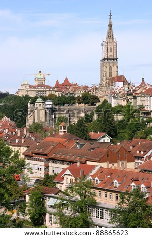 Berne, Switzerland. Beautiful old town. Prominent cathedral tower.