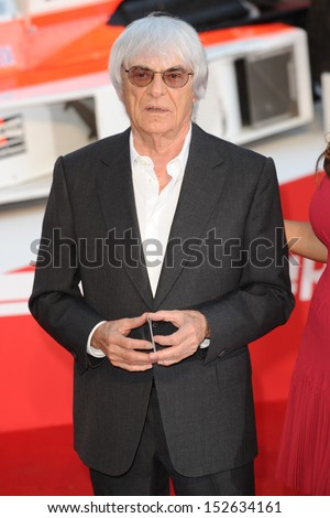 "Bernie Ecclestone arriving for the ""Rush"" World premiere at the Odeon Leicester Square, London. 02/09/2013 - stock photo"