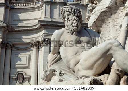 Bernini's Fountain of Four Rivers in Piazza Navona (Rome - IT) - stock photo