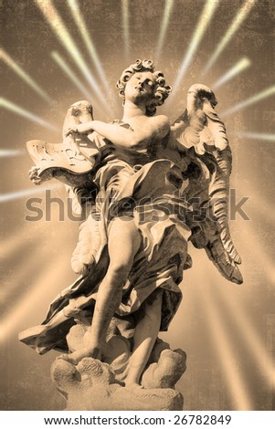 Bernini's statue of angel from Sant' Angelo bridge,Rome,Italy. - stock photo